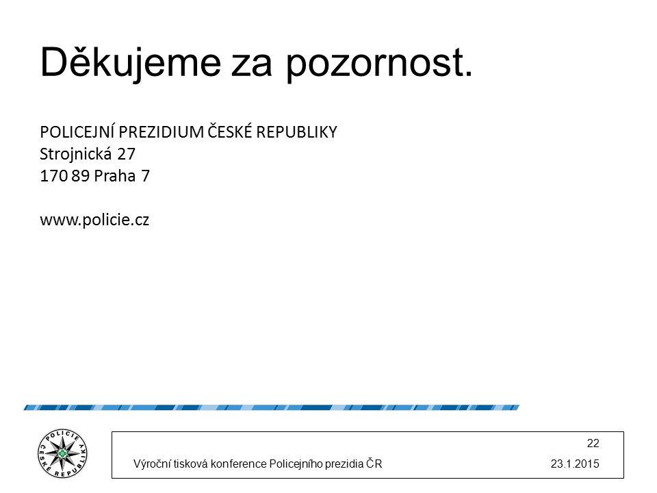 23.1.2015Výroční tisková konference Policejního prezidia ČR 22 Děkujeme za pozornost.