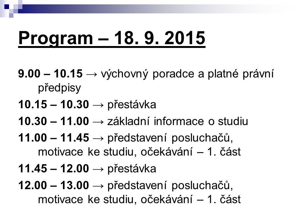 Program – 18. 9. 2015 9.00 – 10.15 → výchovný poradce a platné právní předpisy 10.15 – 10.30 → přestávka 10.30 – 11.00 → základní informace o studiu 1