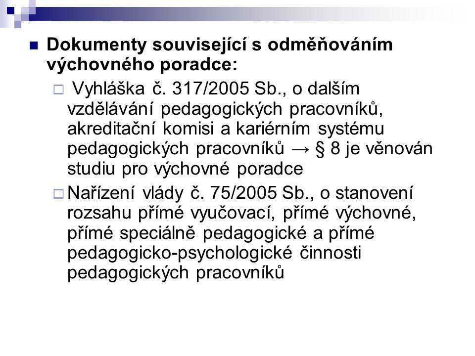 Dokumenty související s odměňováním výchovného poradce:  Vyhláška č. 317/2005 Sb., o dalším vzdělávání pedagogických pracovníků, akreditační komisi a