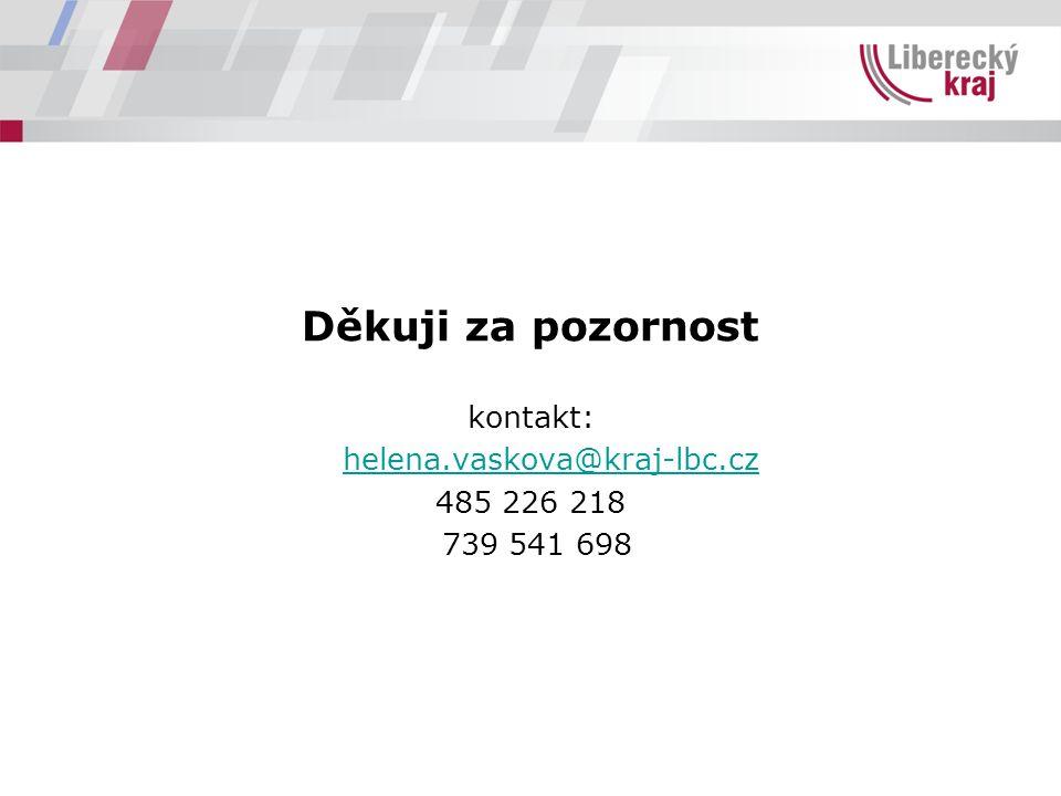 Děkuji za pozornost kontakt: helena.vaskova@kraj-lbc.cz 485 226 218 739 541 698