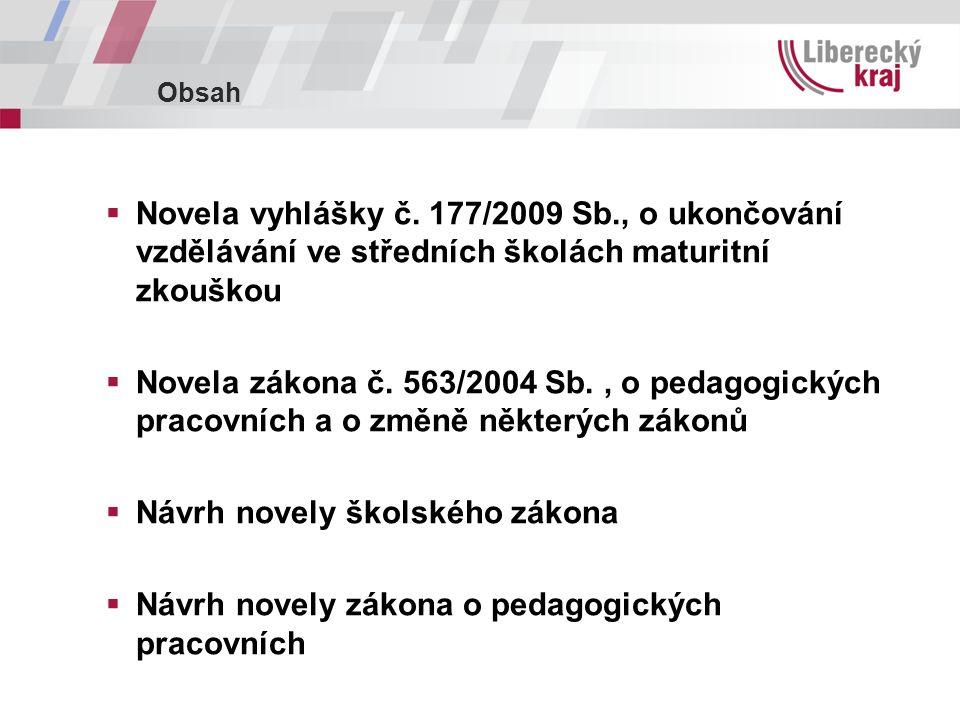Obsah  Novela vyhlášky č.