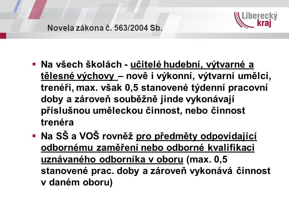 Novela zákona č. 563/2004 Sb.