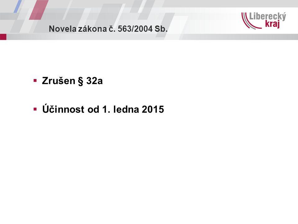 Novela zákona č. 563/2004 Sb.  Zrušen § 32a  Účinnost od 1. ledna 2015