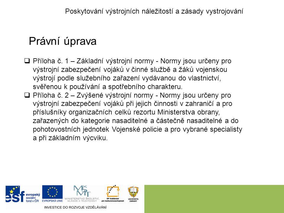 Poskytování výstrojních náležitostí a zásady vystrojování Právní úprava  Příloha č.