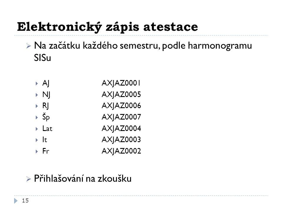 Elektronický zápis atestace  Na začátku každého semestru, podle harmonogramu SISu  AJAXJAZ0001  NJAXJAZ0005  RJ AXJAZ0006  ŠpAXJAZ0007  LatAXJAZ0004  ItAXJAZ0003  FrAXJAZ0002  Přihlašování na zkoušku 15