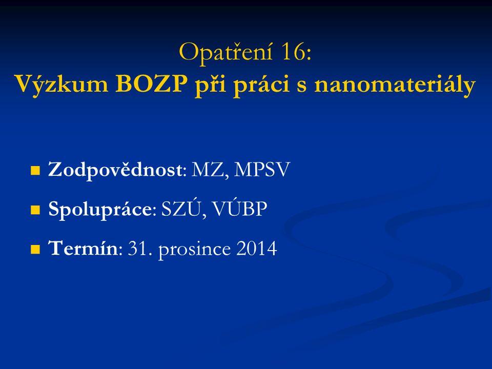 Opatření 16: Výzkum BOZP při práci s nanomateriály Zodpovědnost: MZ, MPSV Spolupráce: SZÚ, VÚBP Termín: 31.