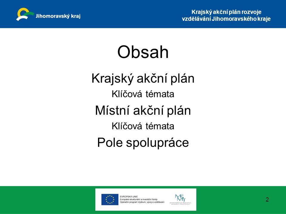 Krajský akční plán rozvoje vzdělávání Jihomoravského kraje Krajský akční plán rozvoje vzdělávání Strategie prioritně zaměřená na rozvoj SŠ a VOŠ, v případě některých oblastí i MŠ, ZŠ Efektivní nástroj pro řízení intervencí z ESIF Nástroj pro zlepšení řízení škol a plánování strategických kroků 3