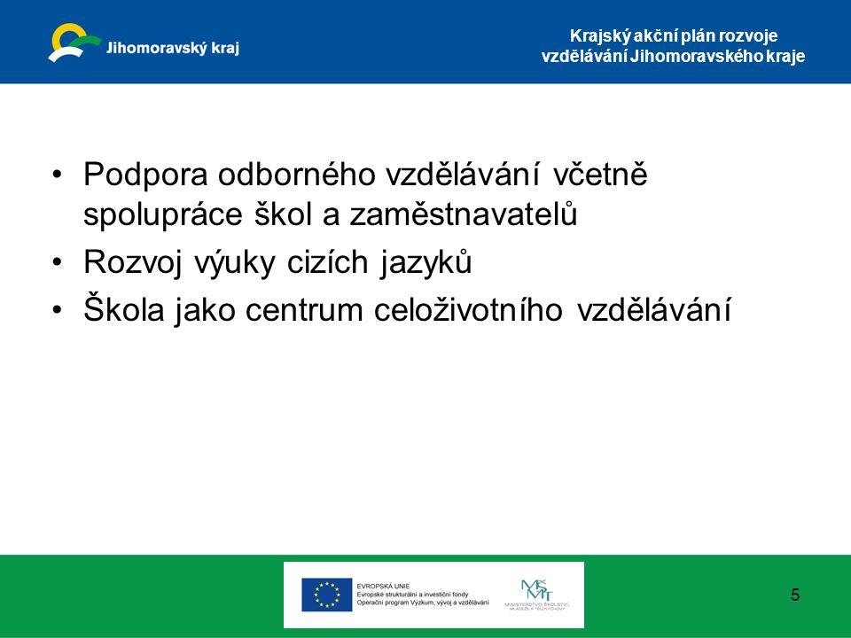 Krajský akční plán rozvoje vzdělávání Jihomoravského kraje Podpora odborného vzdělávání včetně spolupráce škol a zaměstnavatelů Rozvoj výuky cizích ja