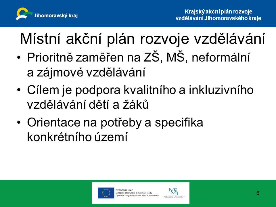 Krajský akční plán rozvoje vzdělávání Jihomoravského kraje Místní akční plán rozvoje vzdělávání Prioritně zaměřen na ZŠ, MŠ, neformální a zájmové vzdě