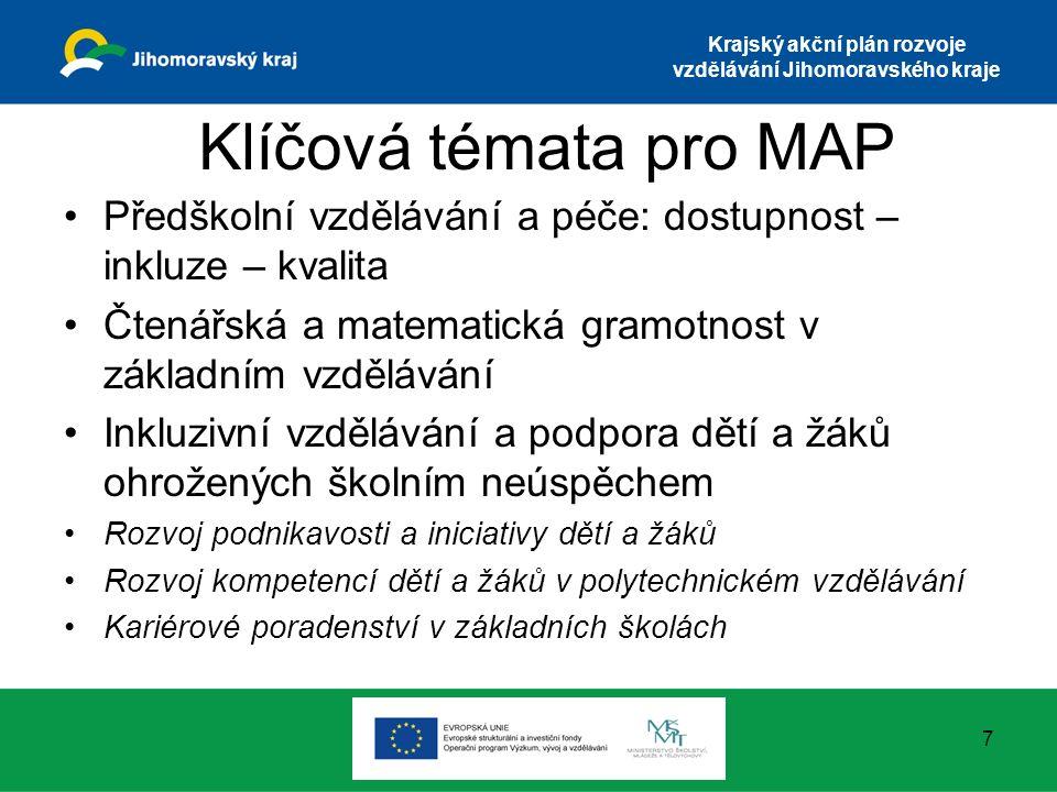Krajský akční plán rozvoje vzdělávání Jihomoravského kraje Klíčová témata pro MAP Předškolní vzdělávání a péče: dostupnost – inkluze – kvalita Čtenářs