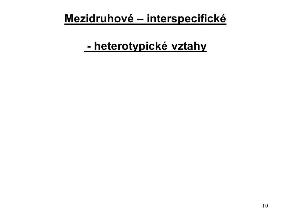 10 Mezidruhové – interspecifické - heterotypické vztahy