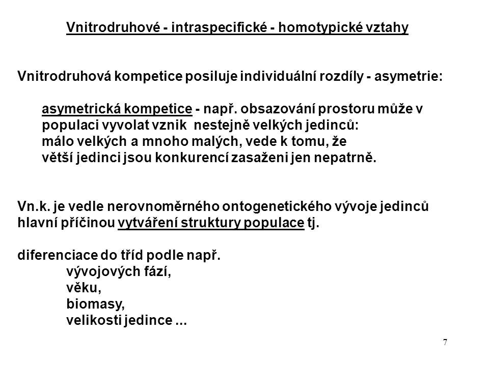 7 Vnitrodruhové - intraspecifické - homotypické vztahy Vnitrodruhová kompetice posiluje individuální rozdíly - asymetrie: asymetrická kompetice - např.