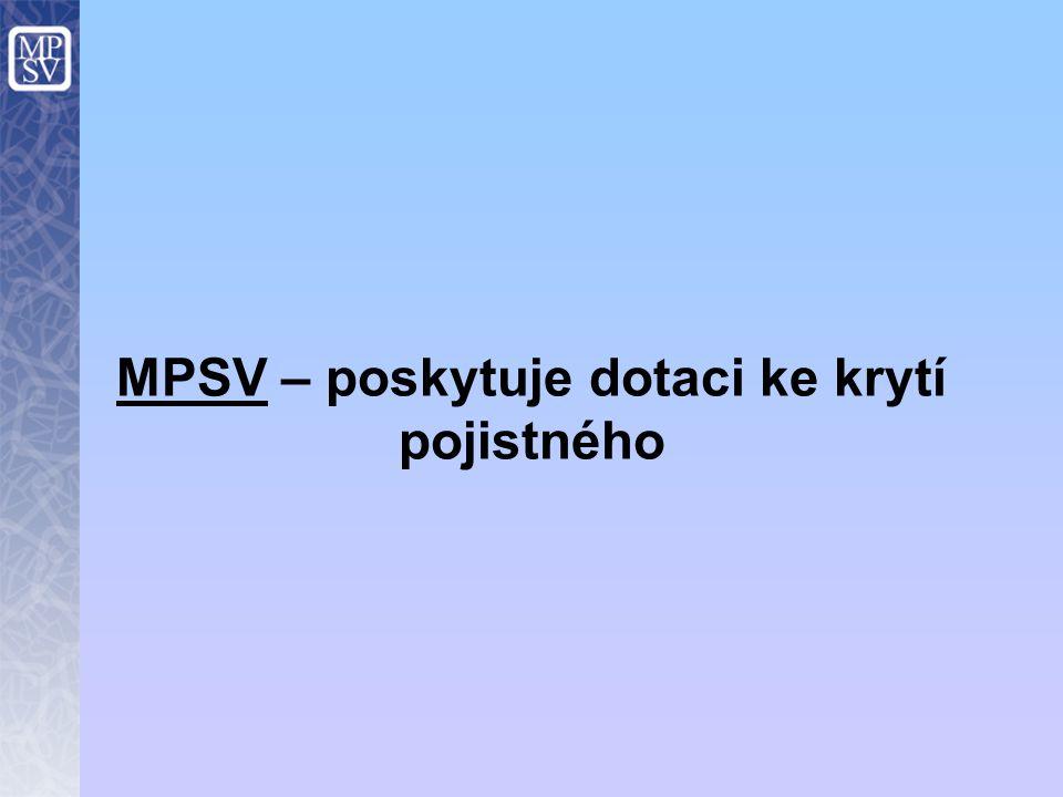 MPSV – poskytuje dotaci ke krytí pojistného