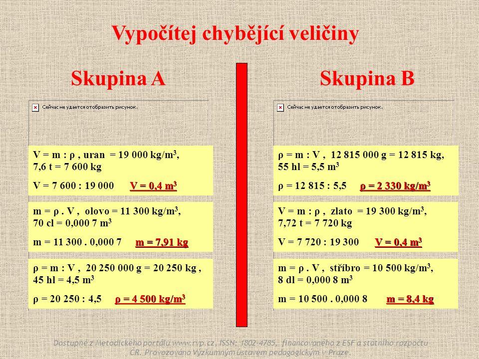Skupina ASkupina B Vypočítej chybějící veličiny V = m : ρ, uran = 19 000 kg/m 3, 7,6 t = 7 600 kg V = 0,4 m 3 V = 7 600 : 19 000 V = 0,4 m 3 V = m : ρ, zlato = 19 300 kg/m 3, 7,72 t = 7 720 kg V = 0,4 m 3 V = 7 720 : 19 300 V = 0,4 m 3 m = ρ.