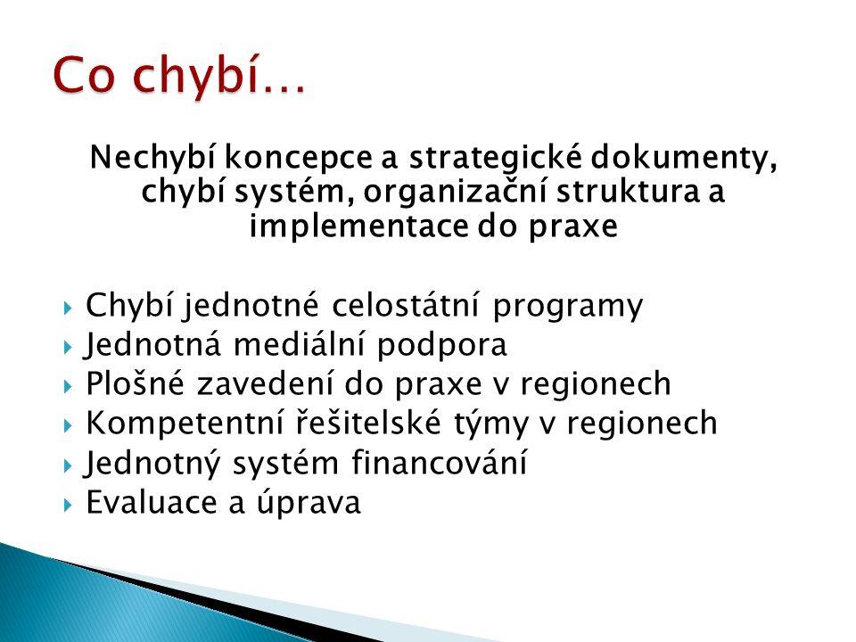 Nechybí koncepce a strategické dokumenty, chybí systém, organizační struktura a implementace do praxe  Chybí jednotné celostátní programy  Jednotná mediální podpora  Plošné zavedení do praxe v regionech  Kompetentní řešitelské týmy v regionech  Jednotný systém financování  Evaluace a úprava