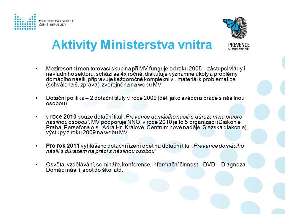 A ktivity Ministerstva vnitra Meziresortní monitorovací skupina při MV funguje od roku 2005 – zástupci vlády i nevládního sektoru, schází se 4x ročně,