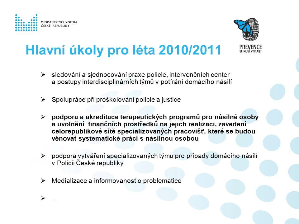 Hlavní úkoly pro léta 2010/2011  sledování a sjednocování praxe policie, intervenčních center a postupy interdisciplinárních týmů v potírání domácího