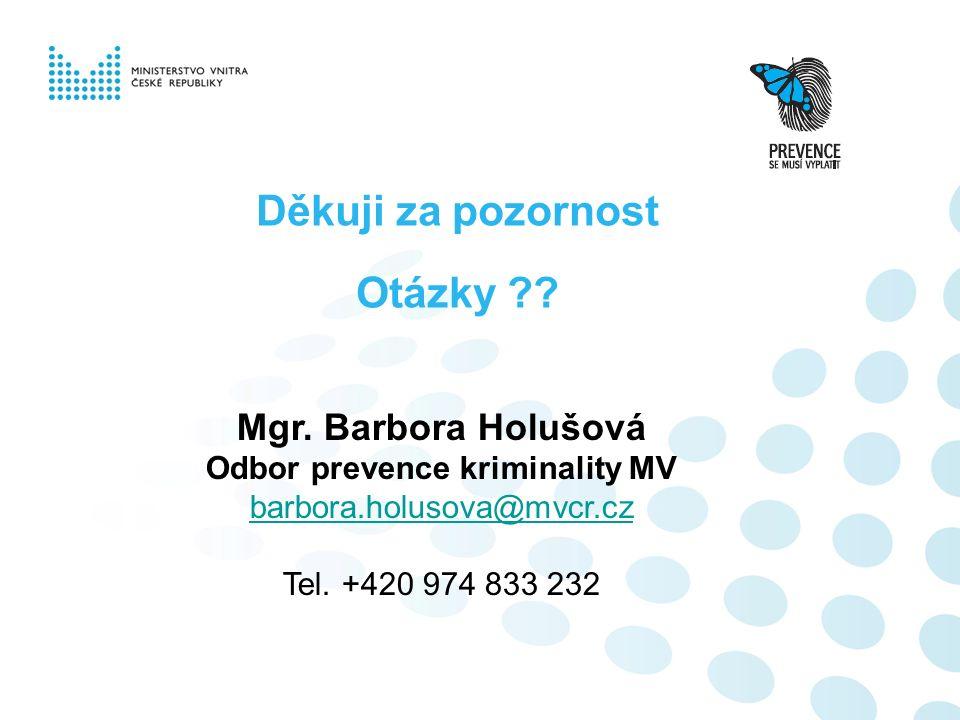 Děkuji za pozornost Otázky ?? Mgr. Barbora Holušová Odbor prevence kriminality MV barbora.holusova@mvcr.cz Tel. +420 974 833 232