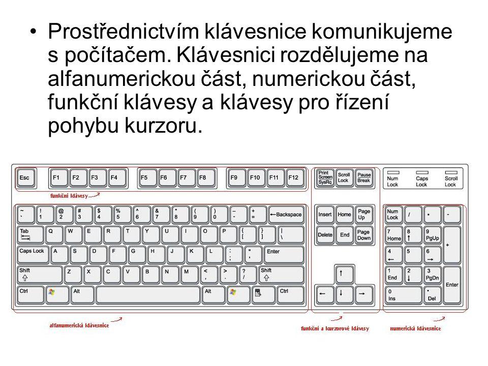 Prostřednictvím klávesnice komunikujeme s počítačem. Klávesnici rozdělujeme na alfanumerickou část, numerickou část, funkční klávesy a klávesy pro říz