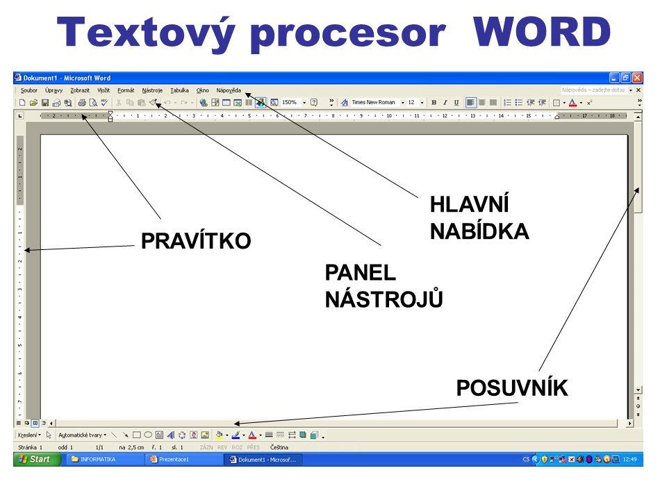 HLAVNÍ NABÍDKA PANEL NÁSTROJŮ PRAVÍTKO POSUVNÍK Textový procesor WORD