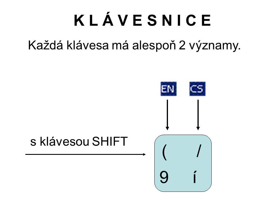 K L Á V E S N I C E Každá klávesa má alespoň 2 významy. 9 (/ í s klávesou SHIFT