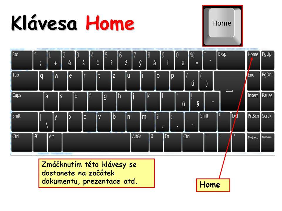 Klávesa Home Zmáčknutím této klávesy se dostanete na začátek dokumentu, prezentace atd. Home