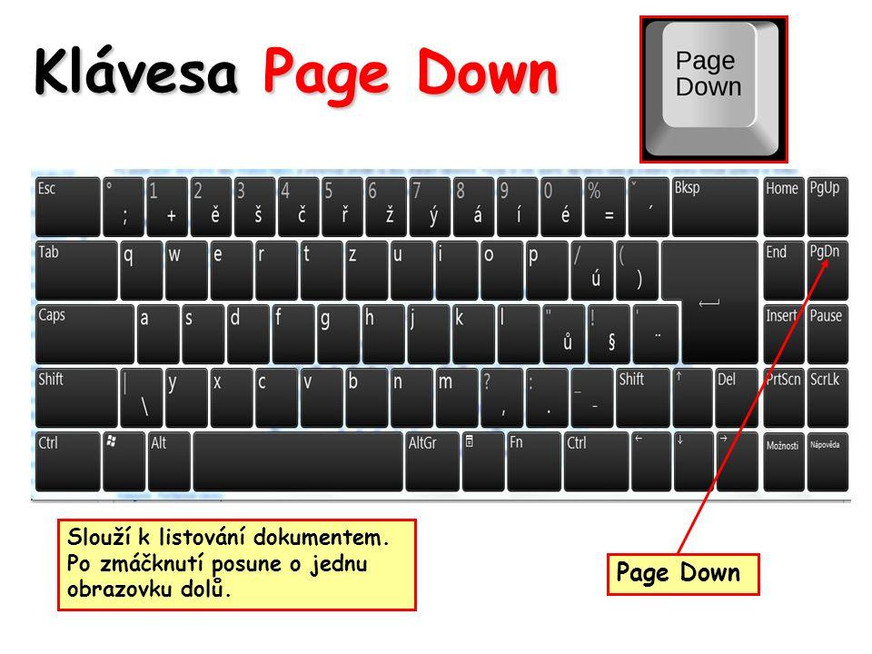 Klávesa Page Down Slouží k listování dokumentem. Po zmáčknutí posune o jednu obrazovku dolů.