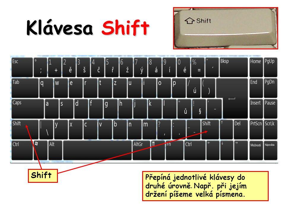 Klávesa Shift Shift Přepíná jednotlivé klávesy do druhé úrovně.