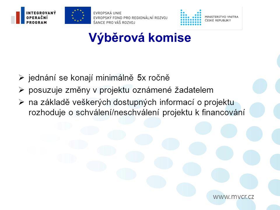 www.mvcr.cz Výběrová komise  jednání se konají minimálně 5x ročně  posuzuje změny v projektu oznámené žadatelem  na základě veškerých dostupných informací o projektu rozhoduje o schválení/neschválení projektu k financování