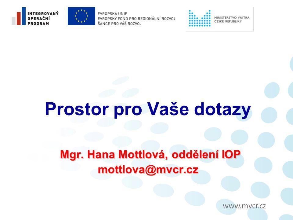 www.mvcr.cz Mgr.Hana Mottlová, oddělení IOP mottlova@mvcr.cz Prostor pro Vaše dotazy Mgr.