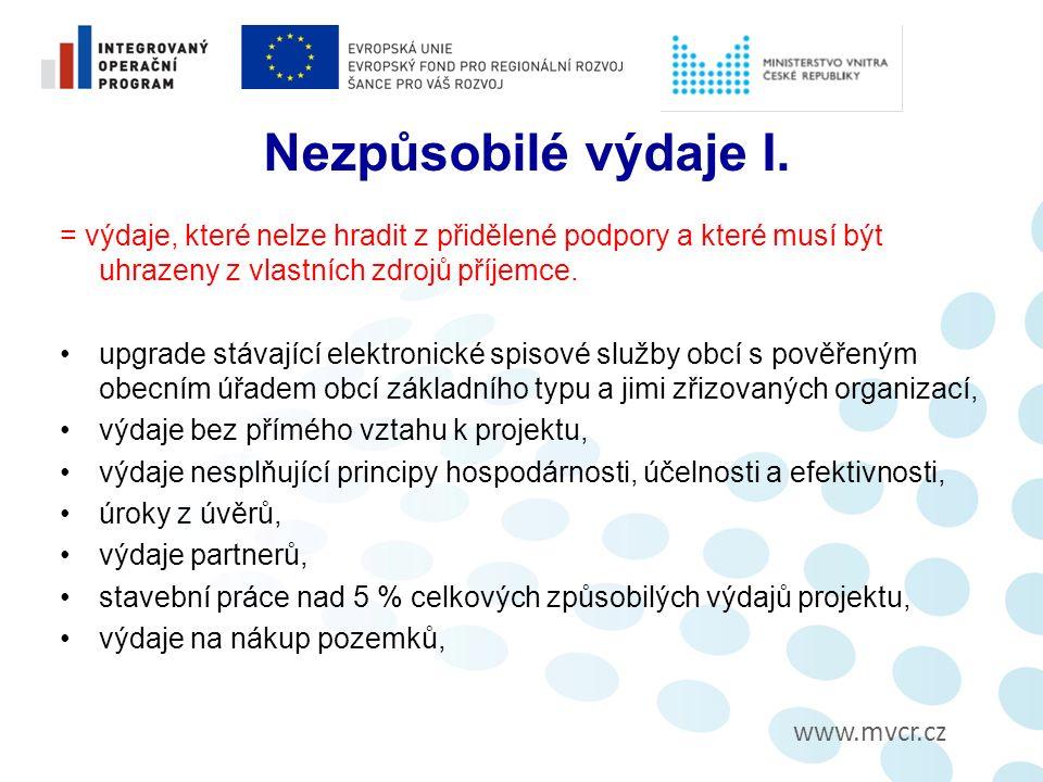 www.mvcr.cz Nezpůsobilé výdaje I.