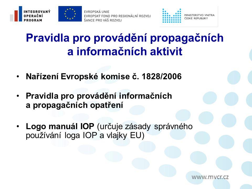 www.mvcr.cz Pravidla pro provádění propagačních a informačních aktivit Nařízení Evropské komise č.