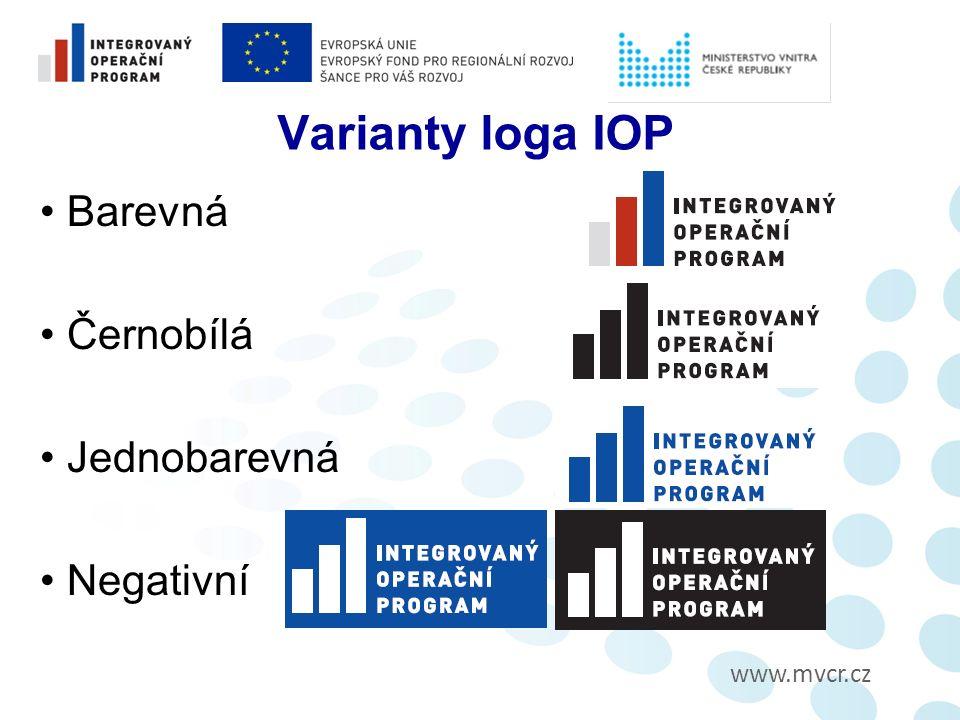 Varianty loga IOP Barevná Černobílá Jednobarevná Negativní