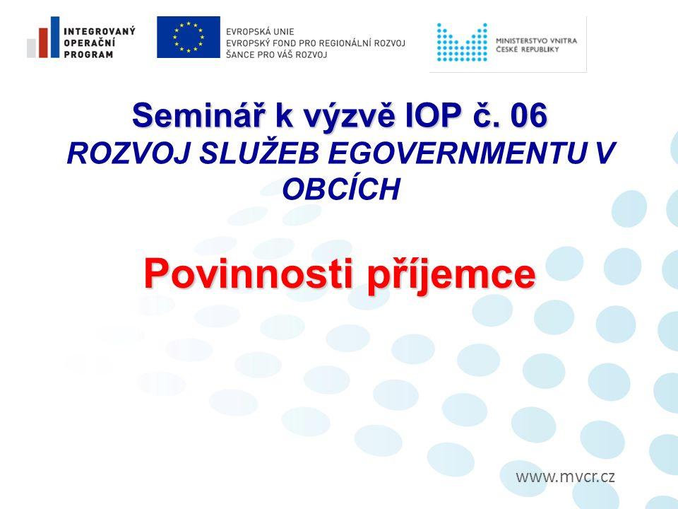 Seminář k výzvě IOP č. 06 Seminář k výzvě IOP č.
