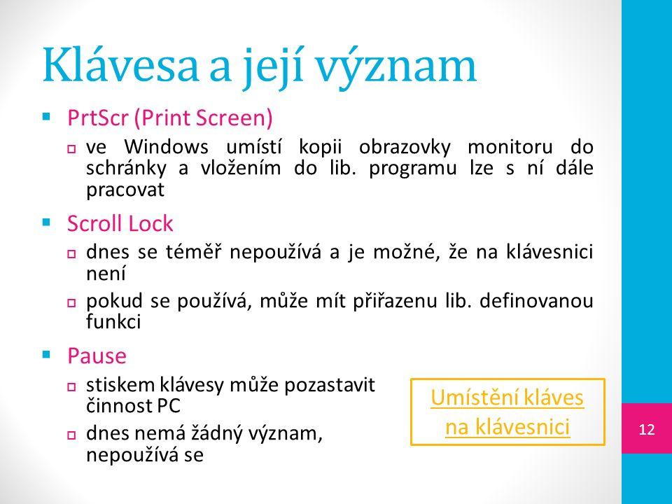 Klávesa a její význam  PrtScr (Print Screen)  ve Windows umístí kopii obrazovky monitoru do schránky a vložením do lib.