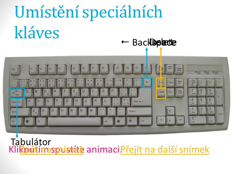 Umístění speciálních kláves Insert Delete Kliknutím spustíte animaci.