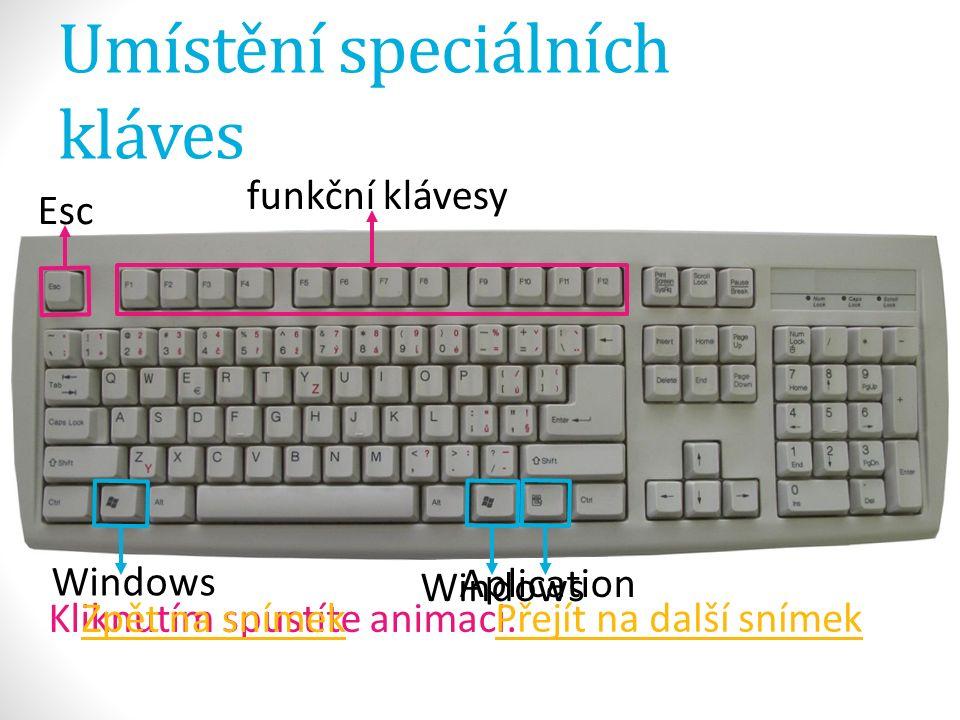 Umístění speciálních kláves Aplication Windows Kliknutím spustíte animaci.Zpět na snímek Přejít na další snímek Esc Windows funkční klávesy