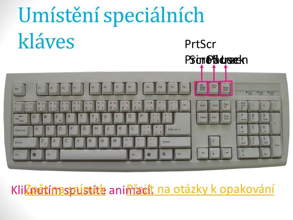 Umístění speciálních kláves PrtScr Print Screen Kliknutím spustíte animaci.