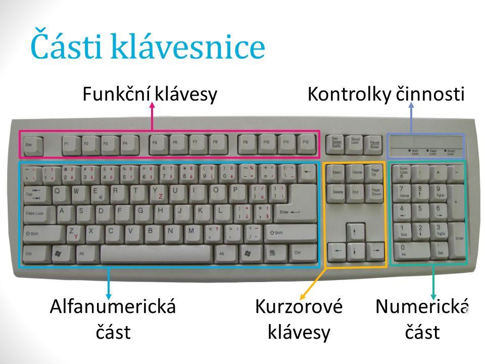 Části klávesnice  alfanumerická část  slouží stejně tak jako psací stroj, k psaní znaků  klávesy obsahují buď jeden znak nebo více znaků  kurzorové klávesy  umožňují pohyb kurzoru po dokumentu  kontrolky činnosti  informují nás, zda určité klávesy jsou aktivní či nikoliv 5