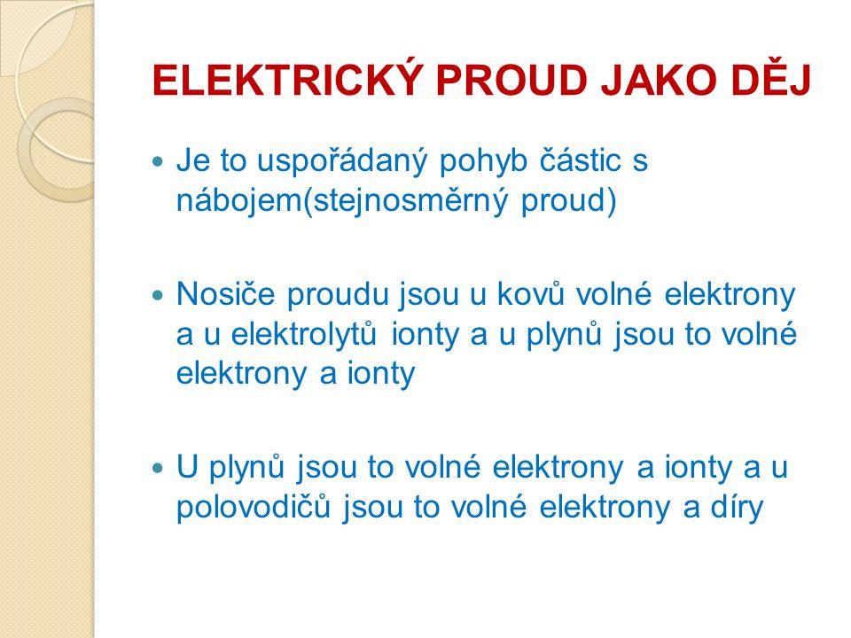 ELEKTRICKÝ PROUD JAKO DĚJ Je to uspořádaný pohyb částic s nábojem(stejnosměrný proud) Nosiče proudu jsou u kovů volné elektrony a u elektrolytů ionty a u plynů jsou to volné elektrony a ionty U plynů jsou to volné elektrony a ionty a u polovodičů jsou to volné elektrony a díry