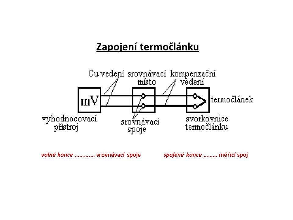 Volné konce termočlánku musí být udržovány na stálé teplotě, což je v praxi nerealizovatelné.