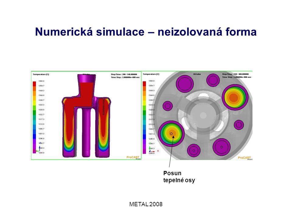 METAL 2008 Numerická simulace – neizolovaná forma Posun tepelné osy