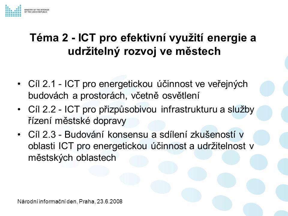 Národní informační den, Praha, 23.6.2008 Téma 2 - ICT pro efektivní využití energie a udržitelný rozvoj ve městech Cíl 2.1 - ICT pro energetickou účinnost ve veřejných budovách a prostorách, včetně osvětlení Cíl 2.2 - ICT pro přizpůsobivou infrastrukturu a služby řízení městské dopravy Cíl 2.3 - Budování konsensu a sdílení zkušeností v oblasti ICT pro energetickou účinnost a udržitelnost v městských oblastech