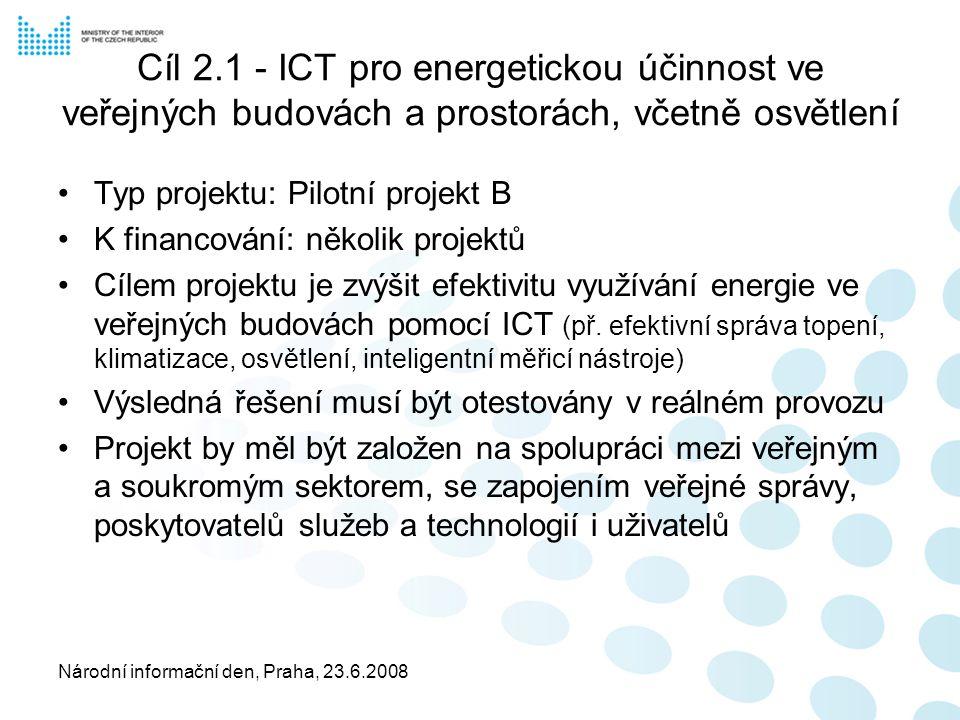 Národní informační den, Praha, 23.6.2008 Cíl 2.1 - ICT pro energetickou účinnost ve veřejných budovách a prostorách, včetně osvětlení Typ projektu: Pilotní projekt B K financování: několik projektů Cílem projektu je zvýšit efektivitu využívání energie ve veřejných budovách pomocí ICT (př.