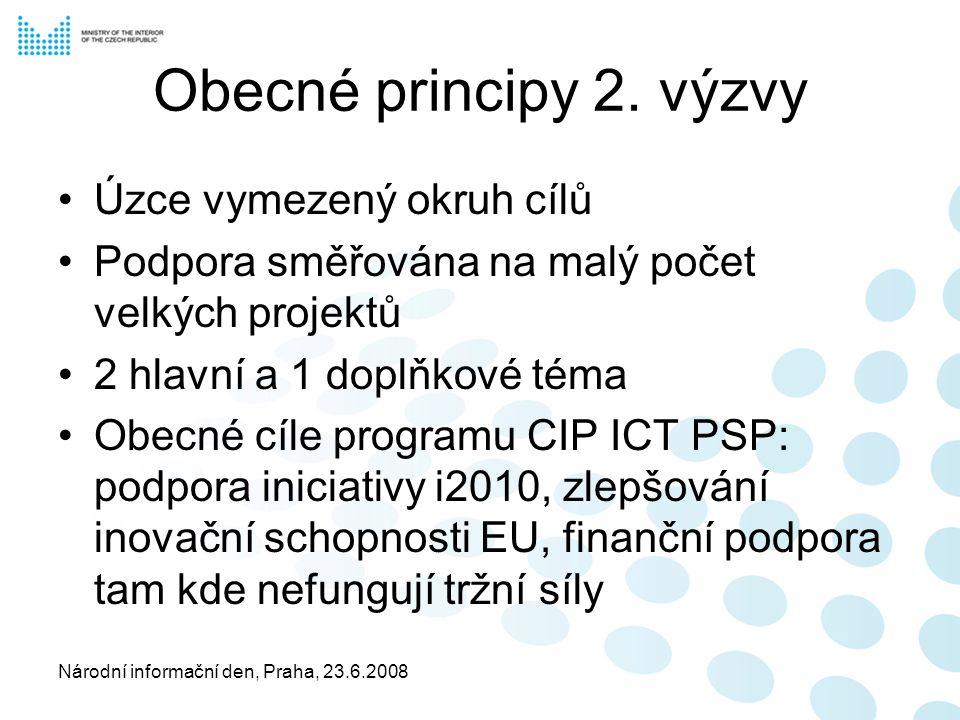 Národní informační den, Praha, 23.6.2008 Přehled hlavních témat Téma 1 - ICT pro uživatelsky příznivou státní správu, veřejné služby a zapojení veřejnosti Téma 2 - ICT pro efektivní využití energie a udržitelný rozvoj ve městech Téma pro výměnu zkušeností – Vývoj a bezpečnost internetu