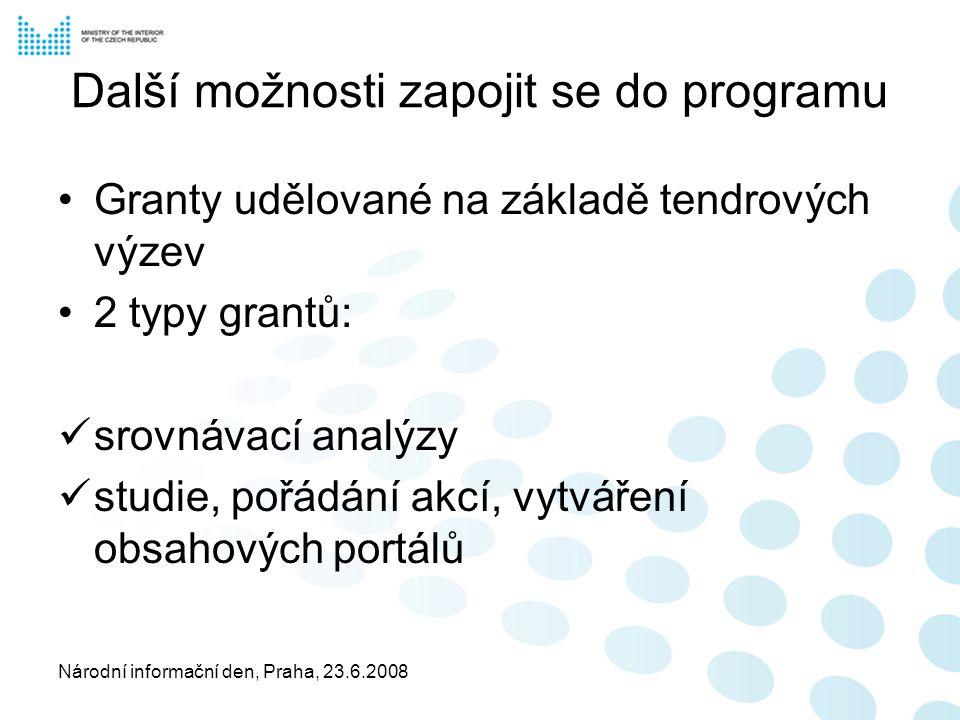Národní informační den, Praha, 23.6.2008 Další možnosti zapojit se do programu Granty udělované na základě tendrových výzev 2 typy grantů: srovnávací analýzy studie, pořádání akcí, vytváření obsahových portálů