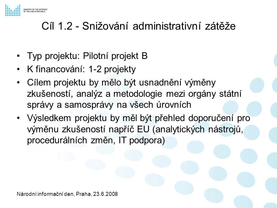 Národní informační den, Praha, 23.6.2008 Cíl 1.2 - Snižování administrativní zátěže Typ projektu: Pilotní projekt B K financování: 1-2 projekty Cílem projektu by mělo být usnadnění výměny zkušeností, analýz a metodologie mezi orgány státní správy a samosprávy na všech úrovních Výsledkem projektu by měl být přehled doporučení pro výměnu zkušeností napříč EU (analytických nástrojů, procedurálních změn, IT podpora)