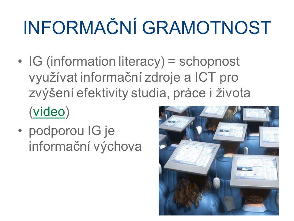 INFORMAČNÍ GRAMOTNOST IG (information literacy) = schopnost využívat informační zdroje a ICT pro zvýšení efektivity studia, práce i života (video)video podporou IG je informační výchova