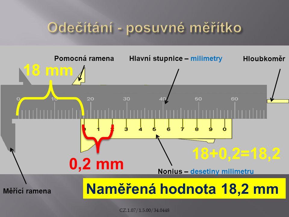 Naměřená hodnota 18,2 mm 18 mm 0,2 mm Pomocná ramenaHlavní stupnice – milimetry Hloubkoměr Nonius – desetiny milimetru Měřící ramena 18+0,2=18,2 CZ.1.07/1.5.00/34.0448