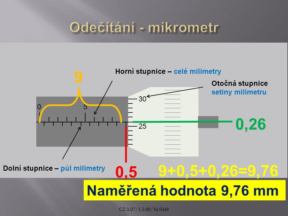 05 25 30 9 0,5 0,26 Naměřená hodnota 9,76 mm 9+0,5+0,26=9,76 Horní stupnice – celé milimetry Dolní stupnice – půl milimetry Otočná stupnice setiny milimetru CZ.1.07/1.5.00/34.0448